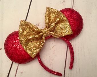 Dazzling Christmas Minnie ears
