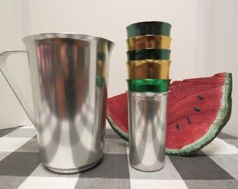 Sunburst Retro Anodized Silver Aluminum Pitcher and Tumbler Set, Silver Pitcher, Six Colored Glasses, Unused
