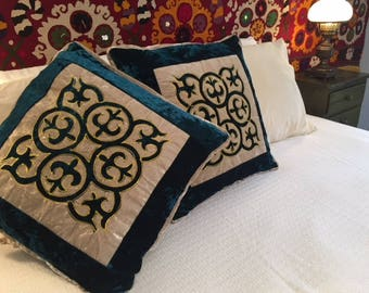 """Handmade 2 (two) Deluxe Kyrgyz velour TEAL cushion covers velour / pillows covers (20""""x20"""") with traditional Kyrgyz ornamentation"""
