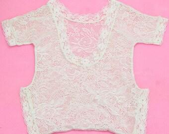 White Lace  Romper for Newborn - 3M