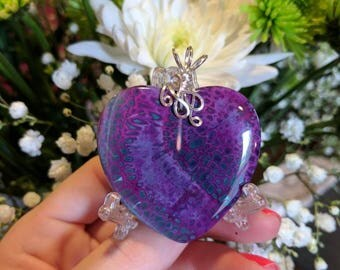 Purple Agate Polished Pendant with Silver Plated Wrapping #ook