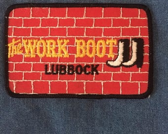 The work boot patch, brick patch, vintage 80s patch, lubbock