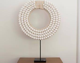Large white poppy necklace