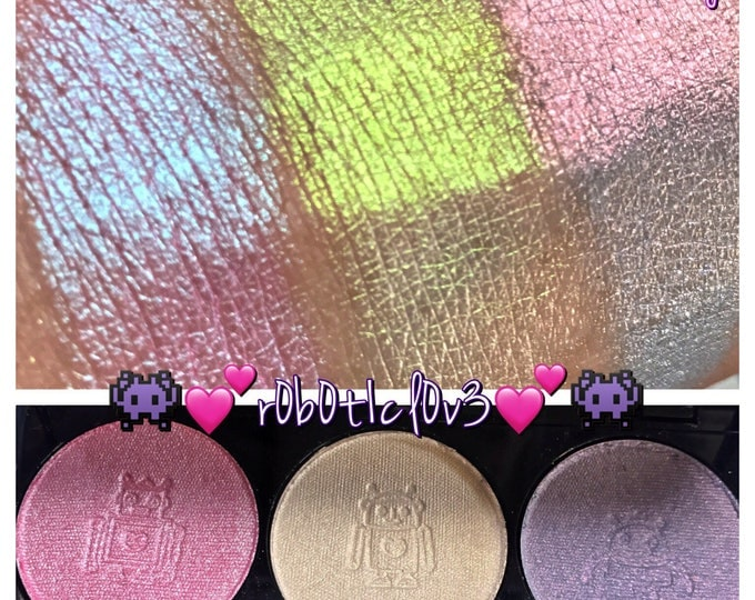 r0b0t1c L0v3 trio palette - 3 chameleon iridescent highlighters / pressed pigments