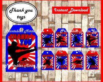 American Ninja Warrior Thank you Tags, printable American Ninja Warrior party Thank you Tags, American Ninja Warrior Thank you Tags