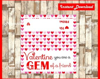 Gem Valentine's Bag toppers, You Are A Gem Valentine Bags toppers, Gem Of A Friend Valentine's Day toppers instant download