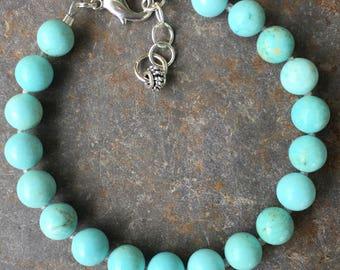 Cream Blue Turquoise bracelet, Gemstone bracelet, Silver bracelet, Adjustable Gemstone bracelet
