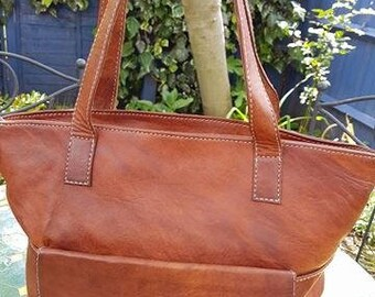 Handmade tan leather shoulder bag