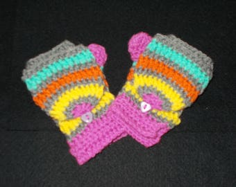 stripe, mittens, crochet, children, adult, warm, soft,