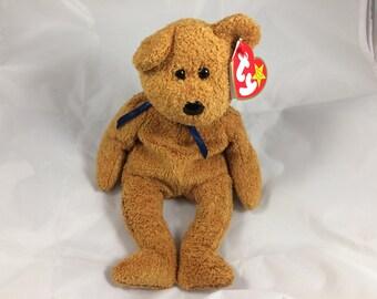 Fuzz the Brown Teddy Bear Original Ty Beanie Baby July 23, 1998  Gift Quality