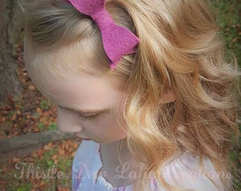 Felt bow headband, clip - You Choose Color