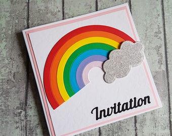 Rainbow party invitation / Birthday party invitation / Rainbow invite