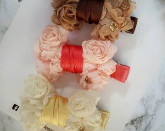 Set of 3 Flower trim hair clip - hair accessories - baby hair clips - girls hair clips - handmade by sugrblossom
