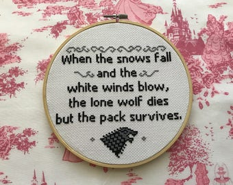 Game of Thrones inspired cross stitch