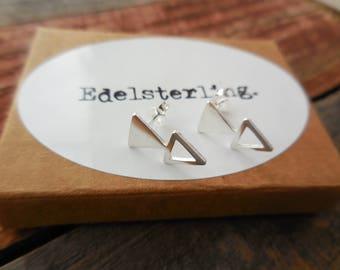 925 Sterling Silver Double Triangle Stud Earrings, Triangle Studs, Triangle Earrings, Geometric Studs, Geometric Earrings, Geometric Jewelry
