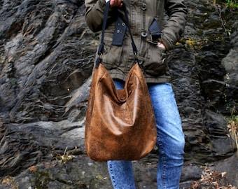 IKS / nature bronze / large / hobo boho bohemian / simple zipper big vegan vegetarian / fake leather faux leather / fabric / gift school