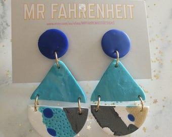 Your Biggest Fan polymer clay dangle earrings