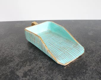 Italian Ceramic Scoop, Turquoise Tray