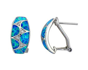 Sterling Silver Blue Opal Clip Earrings CZ Accent