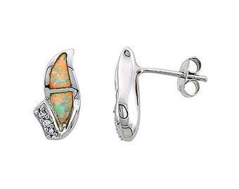 Sterling Silver Blue Opal Stud Earrings CZ Accent