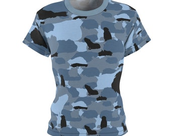 Women's Blue Guinea Pig Camouflage TShirt