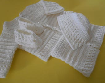 Crochet White Christening Baptism Set for  Baby Boy  Dedication Blessing Outfit
