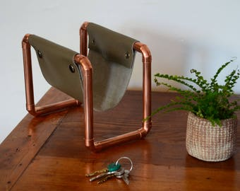 Desk organiser, Gift for him, Copper letter rack, Mail holder, Desk accessory, Leather anniversary for him, Housewarming gift, Small luxury