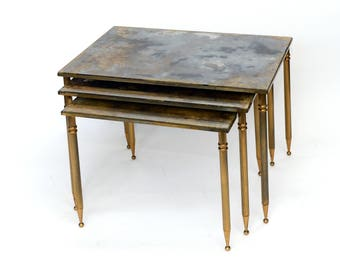 set of gilded french nesting tables brass nesting tables brass stacking tables