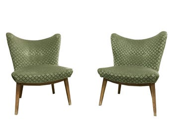 Pair of green mid century cocktail chairs 1950s Belgium - Pair of green velour cocktail chairs - mid century modern lounge chairs
