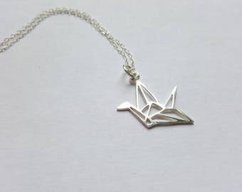 Necklace 925 sterling silver origami crane