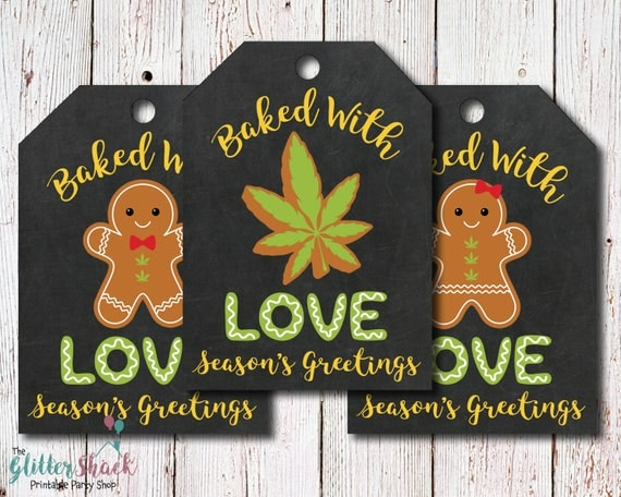 Cannabis Edibles Baked With Love Christmas Gift Tags