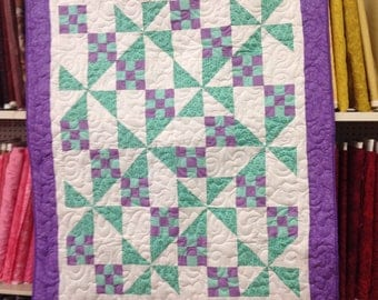 Teal and Purple Pinwheel Quilt