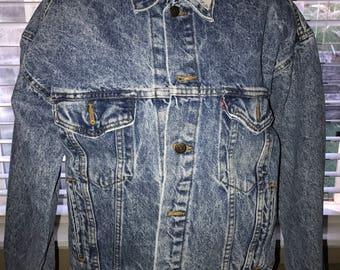 Vintage Denim Jacket - Levi's 1980's Acid Washed - Men's Medium