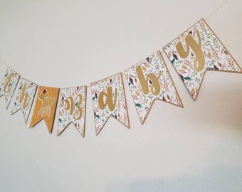 Oh baby banner, fall baby shower banner,  deer baby shower banner, woodland baby shower banner,