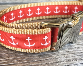 "Nautical Anchor 1"" Wide Dog Collar, Red Dog Collar, Sailor Dog Collar, Anchor Collar Silver Buckle Nylon Webbing"