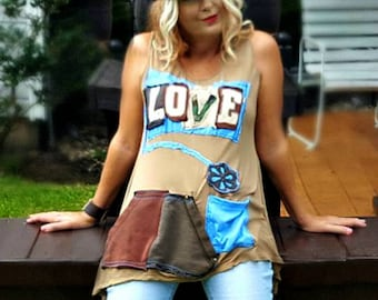 LOVE tunic, Upcycled Clothing,Flowy Womens Dress, Hippie Style, Unaverage Rags, Repurposed Reconstructed Recycled, Funky Artsy Wearable Art