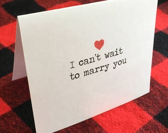 I can't wait to marry you card // Engagement Card // Cute Wedding Card // Romantic // Valentine's Day Couple Card // To Groom // To Bride