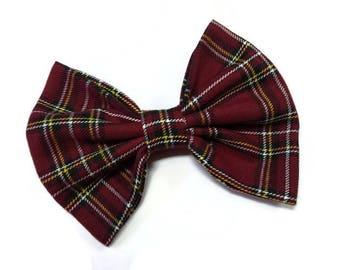 burgundy tartan bow tie for dog matched wedding bowtie adult