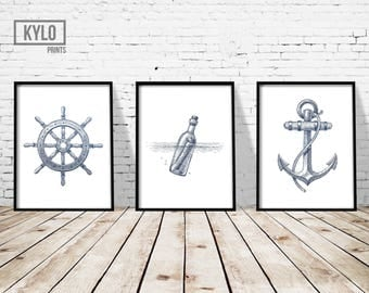 "Nautical Print Set 3 of 11x14"", Nautical Poster, Sailing Print, Nautical Illustration, Nautical Wall Art, Nautical Decor, Sailing Wall Art"