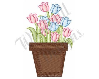 Pink & Blue Tulips - Machine Embroidery Design
