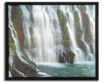 "Fine Art Photography ""Burney Falls II"" Framed Stretched Canvas"