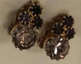 Vintage Clip On Earrings. Four Stone Purple and Lavender Rhinestone Clip On Gold Tone Earrings