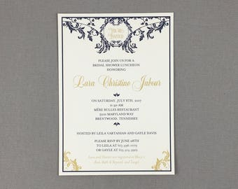 Navy and Gold Art Nouveau with Flourish 5x7 Bridal Shower Luncheon Invitation