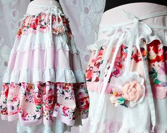 Romantic maxi skirt, Pink white boho skirt, Bohemian rose long skirt, Boho chic clothes, Gypsy summer skirt, Gorgeous skirt with frills