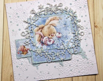 Super cute Christmas card with little rabbit and snowflake wreath