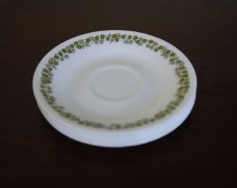 5 Vintage Corelle Spring Blossom Saucers / Corelle Livingware Tea Saucers Green Daisy