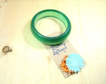 "Bracelet ""Mint cordial"" resin and glitter"
