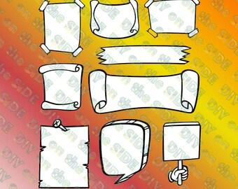 SVG Cut File Doodle Banners Set Instant Download