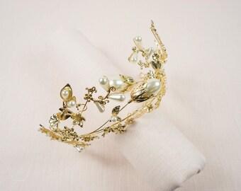 Gold Pearl Floral Vine Hair Tiara Bridal Head Wreath Halo Prom Crown