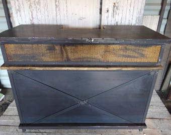 bar Cabinet in industrial style wood and steel